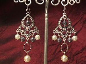 Handmade Jewelry, Chandelier Beaded Dangle Earrings