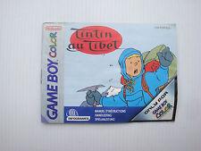Notice d'origine instruction manual pour jeu game boy color Tinti au Tibet