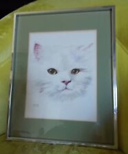 """Peter Wong Watercolor Cat Signed Matted Framed 11"""" by 14"""""""