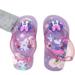 Disney Baby 5/6 Flip Flop Sling Back Purple Glitter Minnie Mouse Koala Panda SJ