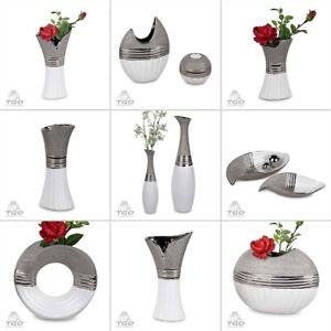 Formano Vase Schale Teelichthalter  aus Keramik weiß silber Tischdeko Blumenvase