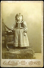 Vintage/Antique/Retro Black & White B&W Photo Young Girl With Dress & Chair/Hay