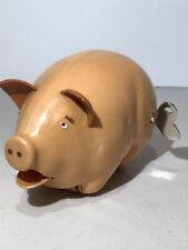VINTAGE WIND UP SQUEALING PIG MADE OF HARD PLASTIC MADE IN GERMANY  KOLHER