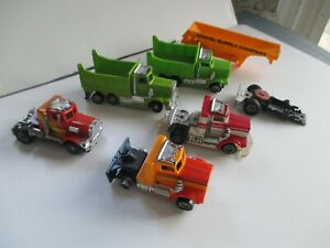 MIXED LOT OF 5 VINTAGE TYCO IDEAL SLOT TCR US-1 TRUCKS +CHASSIS +GRAVEL TRAILER