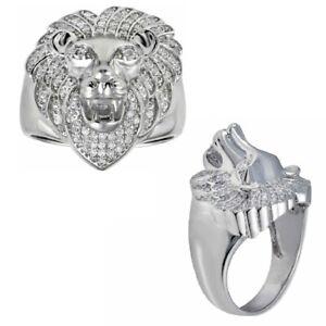 Men's Sterling Silver Cubic Zirconia Stones Lion Design Ring