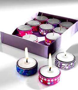 Hand-decorated Tealight Holder with Mosaic Mirror, Sequins and Glitter/ Tealight