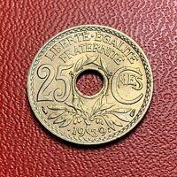 #3827 - RARE -  25 centimes 1939 Lindauer SPL/FDC sortie de rouleau - FACTURE