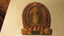Souvenir Antique Shell Art Picture Frame Ogden Utah Religious Print