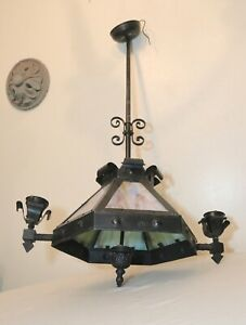 antique arts and crafts stained slag glass hanging ceiling fixture chandelier