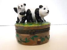 Porcelain Big & Small Pandas w/ Hinged Lid Trinket Box w/ Bamboo Trinket Inside