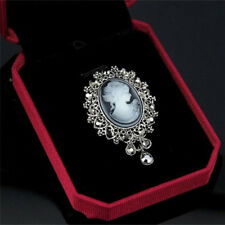 Vintage Cameo Victorian Style crystal Wedding Party Women Pendant Brooch Pin 1Pc