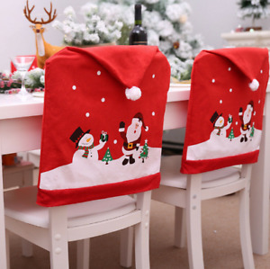 Christmas Chair Covers Decor Santa Claus Snowman Dining Seat Cover Party Decor