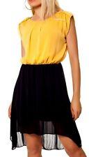 Sexy Miss Ladies Mullet Chiffon Mini Dress 34/36/38 Mustard Black New