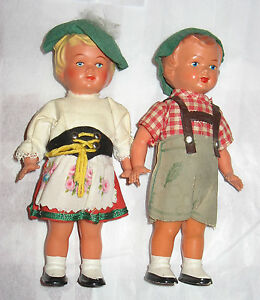 Pair of 2 Vintage West Germany Sweetheart Dancing Dolls Tanzpuppe 1950s