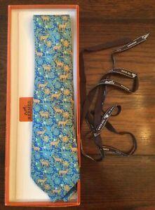 Hermes Paris Made In France Teal Deer/Floral Pattern Silk Tie NWOT w/box