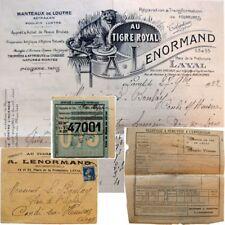 Enveloppe courrier 1922 Fourrures au Tigre Royal Lenormand Laval récépissé SNCF
