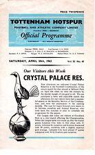 Tottenham V Crystal Palace réserves programme 20.4.1963
