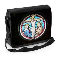 Jésus crucifixion vitrail laptop messenger bag-christ Christian