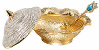 Swarovski Crystal Coated Handmade Sugar Candy Bowl Serving Dish Lid Spoon, Gold