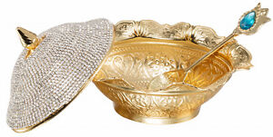 Swarovski Crystal Coated Handmade Sugar Candy Bowl Serving Dish Lid Spoon, Gold