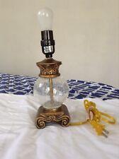 Vintage Glass Globe Lamp Scroll Table Brass Finish Bulb Light Side