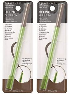 Lot 2 New In Package Maybelline Define-A-Brow Brow Pencil 643 MEDIUM BROWN