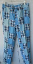 "Vintage 70'S Blue Madras Patch Golf Pants Size 29""W X 31"" L By India Madres"