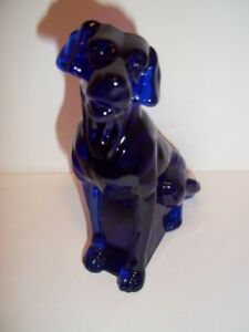 Mosser Handmade Glass Cobalt Blue Labrador Lab Dog Figurine Made In USA!