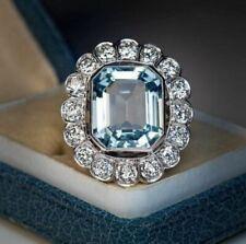 925 Silver Cz Wonderful Aqua Blue White Round Beautiful Vintage Ring Gift Party