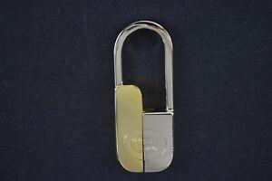 GUCCI Authentic Chrome Gold Tag Key Ring Keychain Charm Brand Logo Vintage
