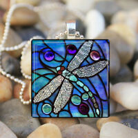 Elegant BLUE DRAGONFLY Spring Garden Glass Tile Pendant Necklace Silver Jewelry