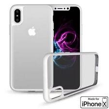 iPhone X Phone Case (TPU Mold & Colored Bumper + Transparent Back) White