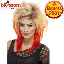 W537 80's Mullet Wig Streaks Blonde Red Punk Pop Diva 70s 80s Rocker Tina Turner