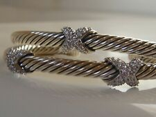 $1950 DAVID YURMAN 18K GOLD, SS DIAMOND DOUBLE X CROSS BRACELET