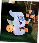 3.5 FT Tall Halloween Inflatable Cute Ghost Inflatable Halloween Candy Cane