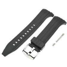 Seiko Black Rubber Watch Strap Band f/ Sport Alarm Chronograph SNAD61P 7T62-0JZ0