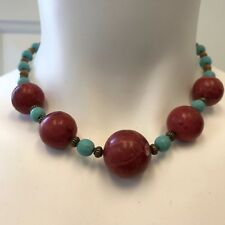 Shell Beads with Bronze Metal Handmade Necklace Red Coral, Turquoise Magnesite,