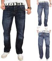 Herren Crosshatch Jeans Reg Passform Gerades Bein Denim Hose - Neu Hornet 30
