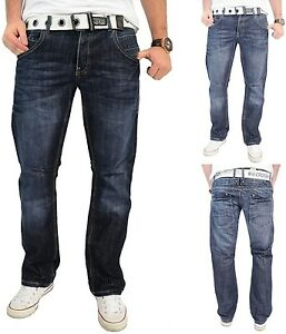 Mens Crosshatch Jeans Reg Fit Straight Leg Denim Trousers - New Hornet 30 Waist