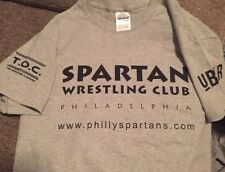 SPARTANS tee shirt XXL GRAY medium -AWESOME DESIGN for wrestling/grapple jocks