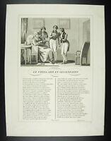 El Vieillard (Anciano) Y Sus Niños Fables Jean de La Fuente 1834 Grabado Cuadro