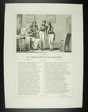 The old man and his enfants Fables Jean from La Fontaine 1834 engraving print