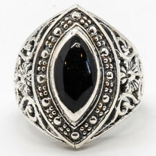 Onyx Natural Organic Gem Bling Ring 925 silver Size L-S Ladies feeanddave