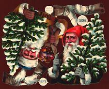 originaler Oblatenbogen 2 geprägte Weihnachtsmänner L&B 30703 - DIE CUT SCRAPS