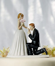 A Cinderella Moment Groom on Bended Knee Romantic Couple Wedding Cake Topper