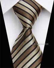 Wedding Silk Tie Black Brown Business Fashion Necktie Striped Skinny Ties Men