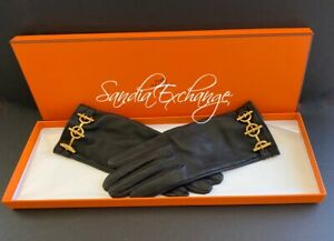 HERMES Gloves Lambskin Leather Glenan Black & Gold  Size 7 Authentic