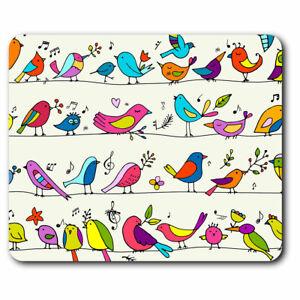 Computer Mouse Mat - Cartoon Birds Small Garden Bird Office Gift #15794