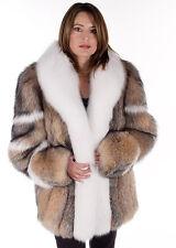 Womens Crystal Fox Fur Jacket Plus Size - With White Fox Trim