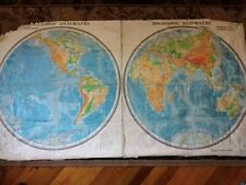 Wall-mounted physical map of the world. Made in the USSR 1970